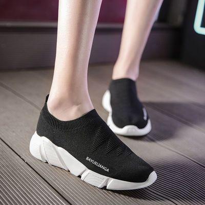 夏季网面透气弹力袜子鞋女一脚蹬人鞋女韩版潮鞋情侣鞋休闲运动鞋