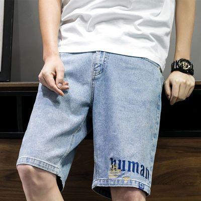 2020夏季男装宽松牛仔中裤男刺绣韩版潮流马裤五分裤男士牛仔短裤