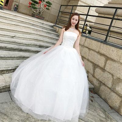 婚纱礼服2019新款短款抹胸简约轻婚纱森系旅拍显瘦小个子女出门纱
