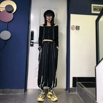 嘻哈风酷帅街头风衣束脚裤秋男女运动休闲裤杠条设计直筒裤宽松BF