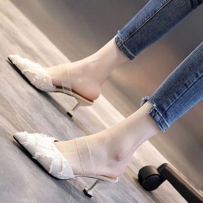 毛毛高跟鞋女细跟网红百搭外穿凉拖鞋2020夏季新款时尚包头半拖鞋
