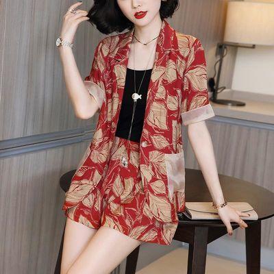 印花时尚套装女2020新款夏季休闲短袖西装外套阔腿宽松短裤两件套