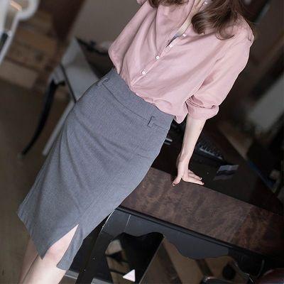 经典人字纹通勤及膝半身裙女2020夏季新款高腰显瘦百搭开叉西装裙