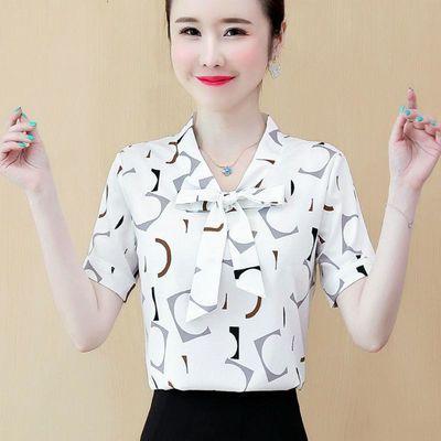 衬衫女短袖2020年夏装新款韩版雪纺上衣女士小衫V领印花外穿衬衣
