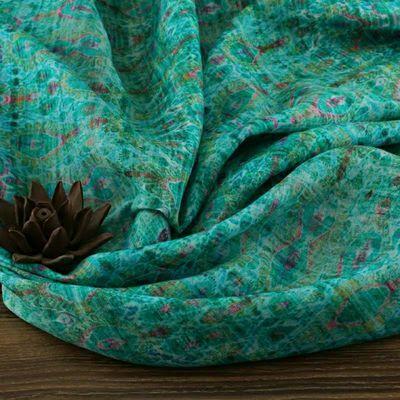 原创品牌设计民族风苎麻夏季高端数码印花连衣裙袍子布料(丽水)