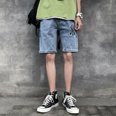 夏季薄款破洞刺绣牛仔短裤男韩版潮流宽松弹力直筒个性印花五分裤