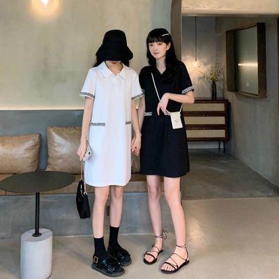 实拍 闺蜜装小香风polo连衣裙女夏短袖初恋法式桔梗裙子2020