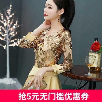 金色小晚礼服女平时可穿气质高贵高端主持短款高级质感宴会连衣裙