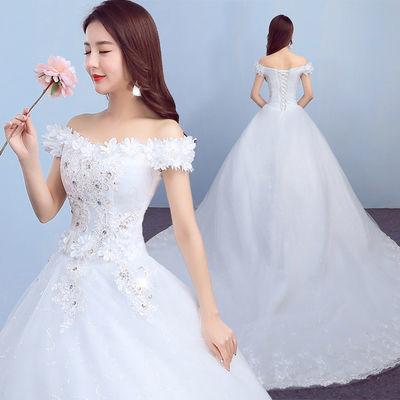 婚纱礼服 新娘齐地一字肩韩式公主大码显瘦拖尾婚纱2020新夏季款