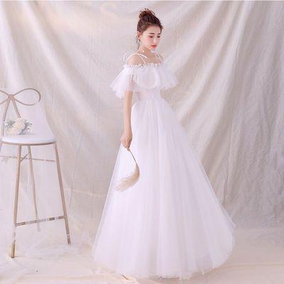 轻婚纱2019新款新娘一字肩森系简约法式白色公主梦幻显瘦礼服女短