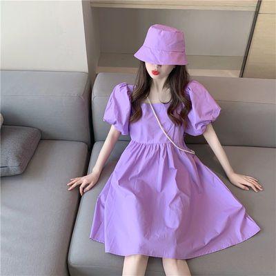 34383/【送渔夫帽】2020新款女学生韩版宽松网红紫色赫本风泡泡袖连衣裙