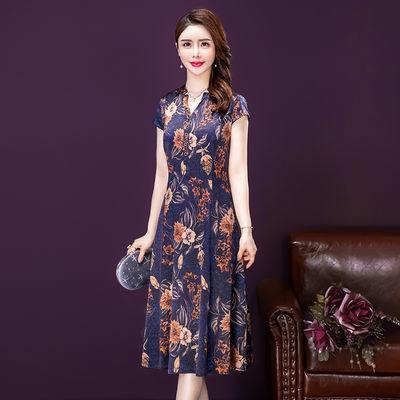 2020新款夏装香云纱连衣裙宽松V领时尚气质印花高贵桑蚕丝中长裙