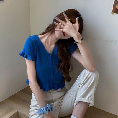 2020年夏季新款韩版修身v领短袖木耳边短款针织衫女薄款开衫外套
