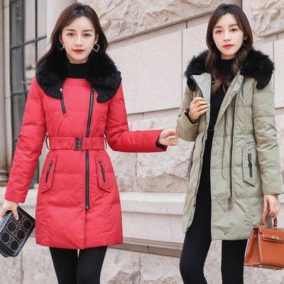 反季特价狐狸毛领白鸭绒羽绒服女中长款韩版修身可脱卸帽冬装外套