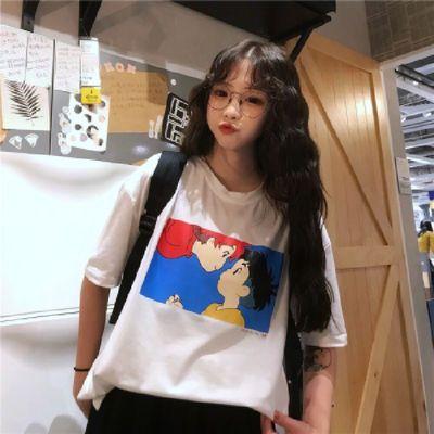 【实拍】棉 短袖t恤女潮学生宽松百搭夏季韩版波妞与宗介衣服