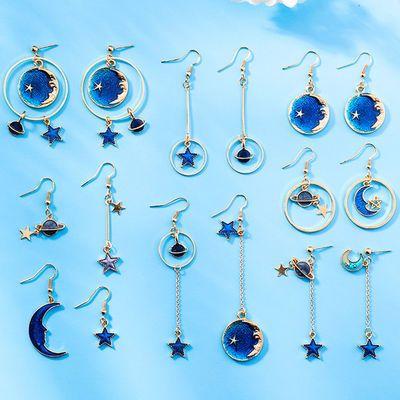 日系小清新蓝色星星月亮耳环不对称百搭星球几何圆形耳勾长款耳钉