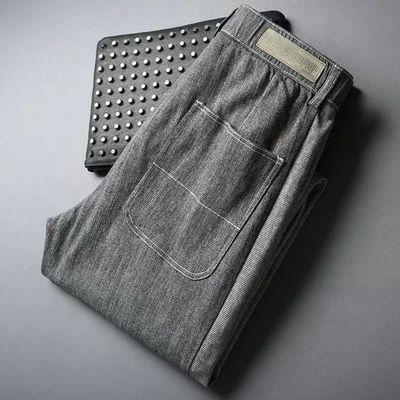 夏季高端灰色水洗棉氨微弹牛仔裤 男士松紧腰抽绳休闲小脚九分裤
