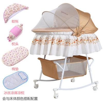 婴儿摇篮床小摇床可推童床新生儿宝宝床多功能宝宝游戏床带滚轮床