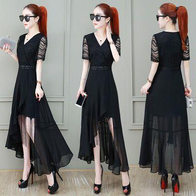 雪纺拼接连衣裙女装2020夏季新款韩版时尚洋气蕾丝不规则过膝裙子