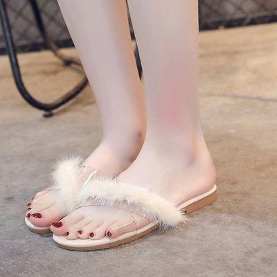 2020夏季新款一字拖鞋女ins网红毛毛拖鞋外穿百搭平底透明凉拖鞋