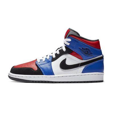 上尚体育 Air Jordan 1 Mid TOP3 AJ1鸳鸯拼接黑红脚趾554724-124