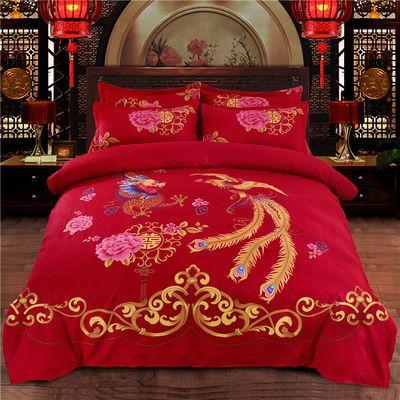 加厚磨毛斜纹【同款被套】优诗莱中式婚庆大红被套单件被罩单件
