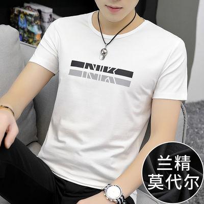 莫代尔短袖t恤男装夏季潮牌潮流修身上衣服印花白色冰丝半袖韩版