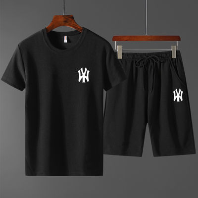 2020夏季短袖T恤运动套装男士韩版修身NY印花薄款时尚两件套套装