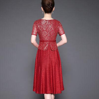 2020春夏装新品高贵气质修身假二件连衣裙女装婚宴喜庆礼服妈妈装