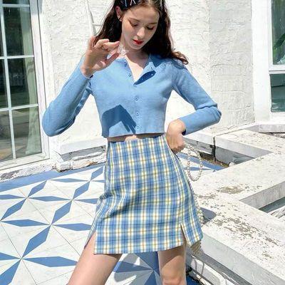 学生格子半身裙女夏2020春季新款高腰bm风短裙显瘦开叉a字裙子MG