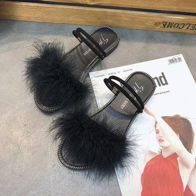 韩版新款夏季外穿ins网红社会小公主学生毛毛女外出时尚一字拖鞋