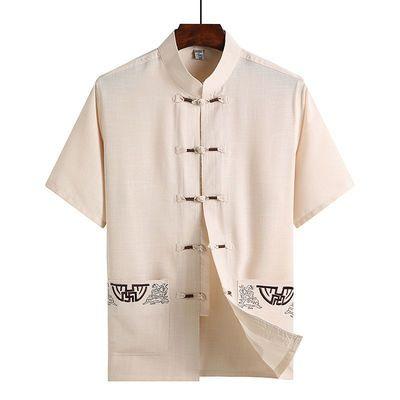 夏季短袖衬衫男唐装休闲套装中老年衬衣爸爸装中国风男装爷爷汉服