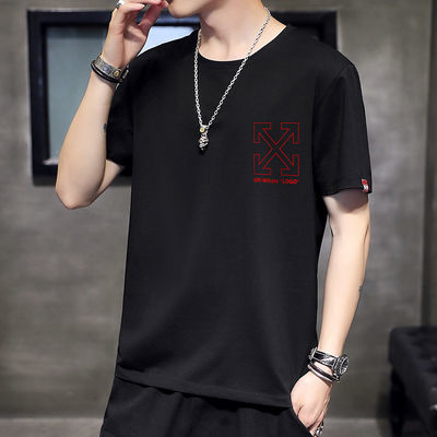 夏韩版新款OFF-WHITE联名T恤学生情侣衣服男宽松印花短袖体恤潮牌
