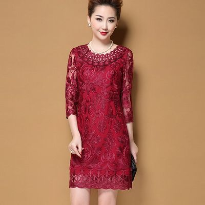 2020春夏装新款高贵优雅女装高档气质中老年妈妈装结婚礼服连衣裙