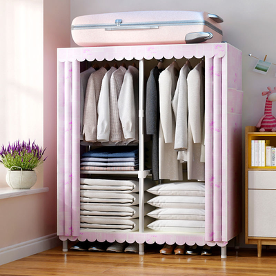 钢管衣柜简易单双人组装收纳架儿童卧室家具实木推拉门储物布柜子