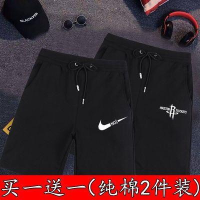 短裤男纯棉休闲运动裤夏季潮牌五分裤中裤男大裤衩沙滩裤黑色直筒