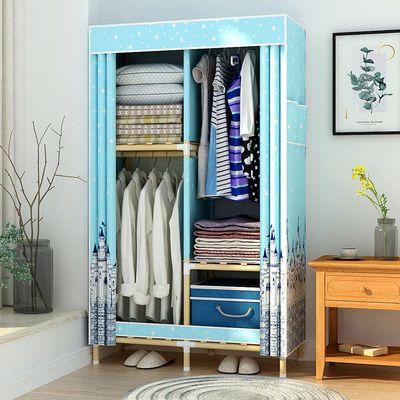 简易衣柜实木布衣柜双人大号组装衣橱折叠收纳架柜子牛津布储物柜