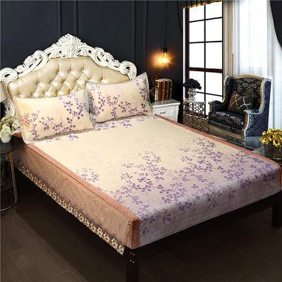 600D冰丝凉席床笠式可水机洗床单式夏季空调软席子三件套1.5m1.8m