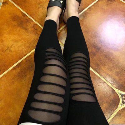 打底裤女薄款莫尔代夏季百搭弹力松紧腰破洞拼接网纱外穿九分裤女