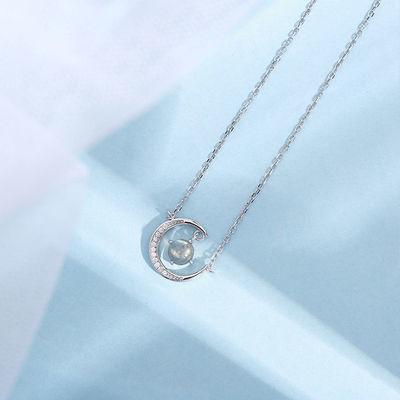 乙女S925纯银月亮月光石银项链网红女潮设计小众锁骨仙气简约
