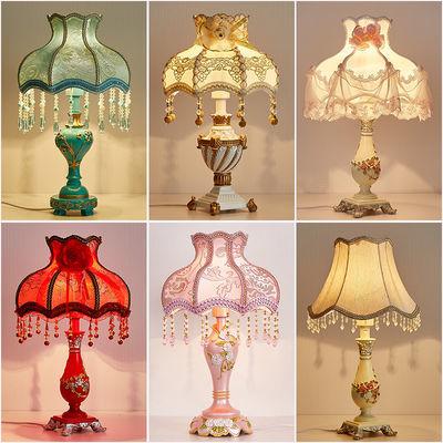 欧式台灯卧室床头灯宫廷奢华复古客厅布艺结婚婚房装饰创意遥控灯