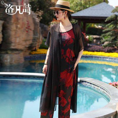 洛凡诗夏季妈妈套装女2020新款黑色外披复古印花吊带阔腿裤三件套