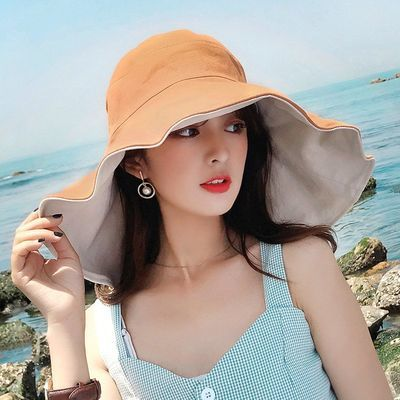 超大帽檐遮脸渔夫帽女夏天防紫外线遮阳帽防晒旅游百搭帽子韩版潮
