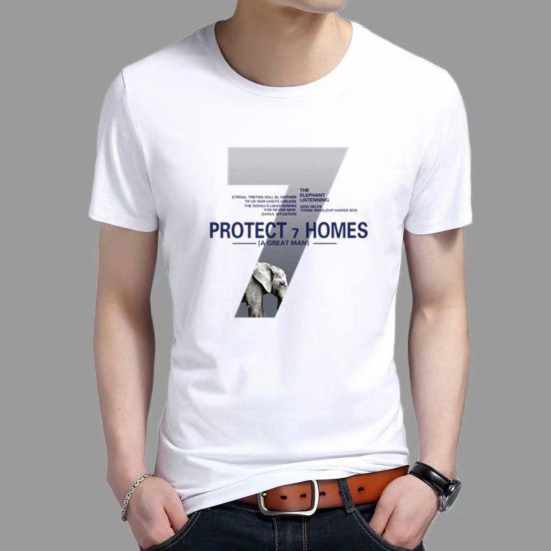 ins夏季新款男士五分短袖T恤韩版圆领