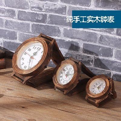 欧式墙上挂钟创意手表客厅座钟桌面摆放两用实木复古餐厅装饰钟表
