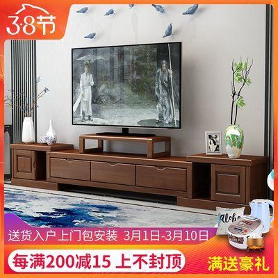 现代中式伸缩实木电视柜客厅简约2米地柜矮柜大小户型客厅影视柜