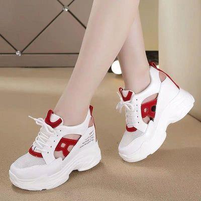 网面内增高小白鞋女2020夏季新款厚底百搭镂空透气运动休闲老爹鞋