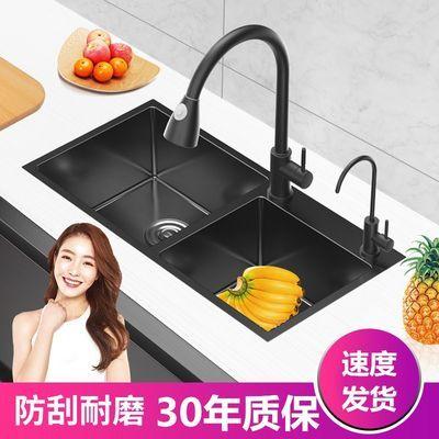 黑色纳米水槽双槽 厨房单槽洗菜盆304不锈钢手工家用洗碗池套餐