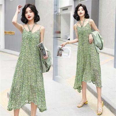 吊带连衣裙长款无袖2020年夏季潮流时尚印花褶皱不规则裙摆
