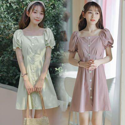 2020新款夏季法式小众高腰复古方领甜美灯笼短袖中长裙显瘦连衣裙
